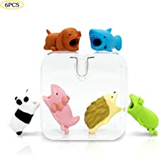 6 Bite Cable Cord Protector Bites Animals Saver,HENSUN Cute Animal Dog Axolotl Hedgehog Shark Panda Frog Bite Compatible for iPhone Charging Cable Cords Data Line Cell Phone Protects Cables Accessory