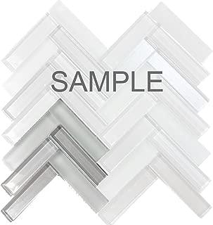 Modket TDH227MO-S SAMPLE - Gray Glass Blend Metallic Cold Spray and Matted Glass Mosaic Tile Herringbone