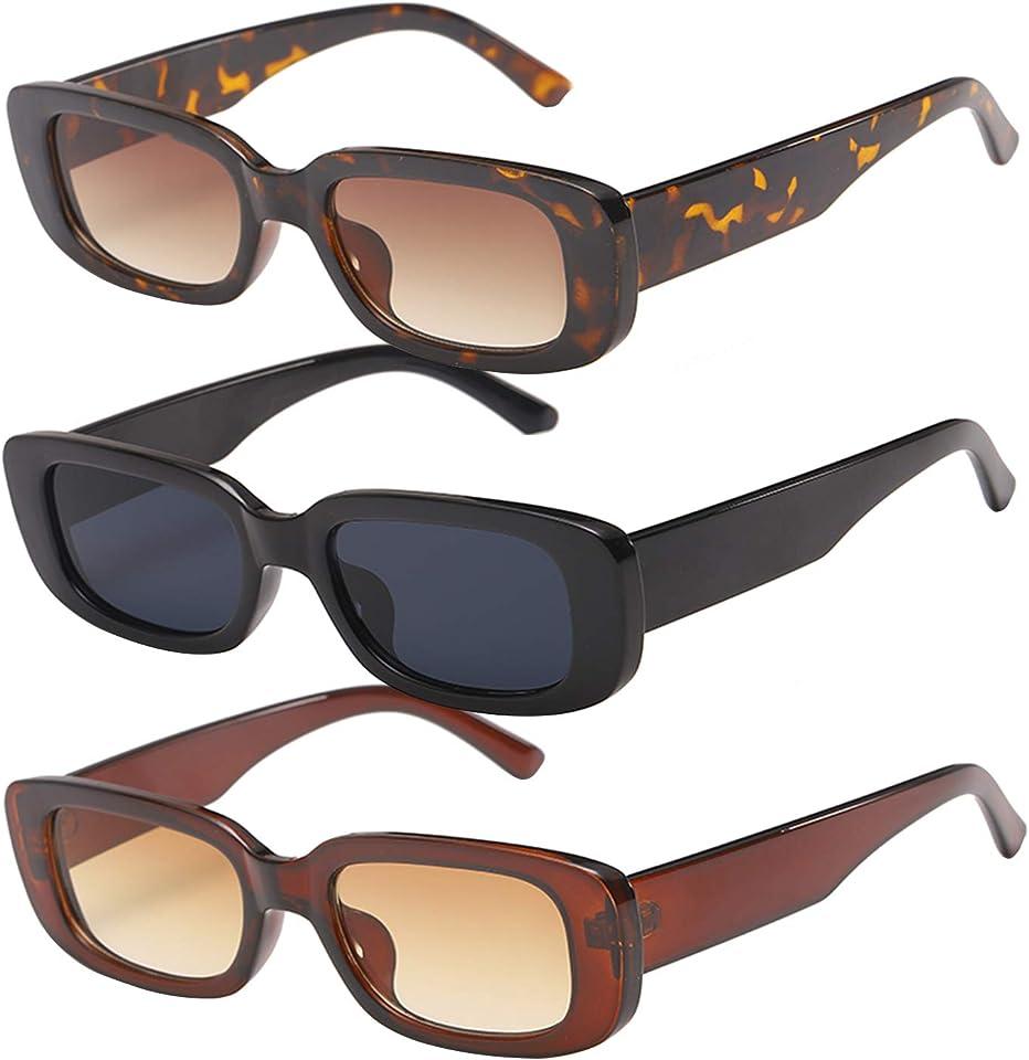 3 Stück Vintage Rechteckige Sonnenbrille für Damen, UV 400 Brille Retro Quadrat Brillen Mode Sonnenbrille für Reise, Fahren Angeln Reisen