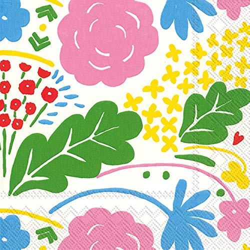 IHR Marimekko ONNI - Tovaglioli di Carta con Motivo Floreale, Confezione da 20, 33 cm, Quadrati