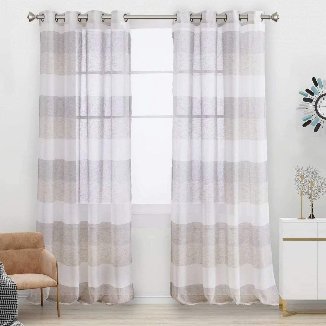Aloft National uniform free shipping Striped Sheer Curtains for Bedroom - Look Color Linen Bloc A surprise price is realized