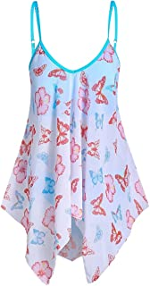 Allywit Women's Sexy V-Neck Spaghetti Straps Butterfly Print Slim Summer Loose Irregular Shirt Loose Fit Tunic Tops