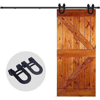 6FT / 6,6FT / 8FT Herraje para Puerta Corredera Kit de Accesorios para Puertas Correderas Juego de Piezas de Metal Carril para Puerta Deslizante, Forma de flecha (8ft / 244cm, Negro): Amazon.es: