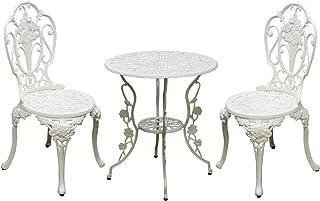 SEMI-SS ガーデンテーブル 3点セット (ホワイト) アルミ製 ガーデンテーブルセット 雨ざらし ガーデンファニチャー 2人用 椅子 2脚 SS-RT001-3PSET