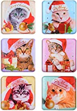 Morcart Refrigerator Magnets Cartoon Ctue Cat Mangets (6pcs) 3D Pattern Square Christmas Gifts Suitable For Kitchen Student Locker Whiteboard Funny Office
