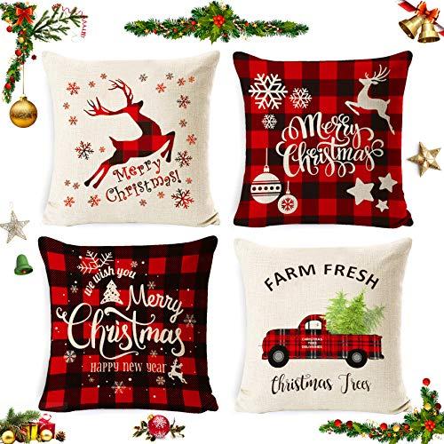 Zierkissenbezüge 4 Stück kissenbezug weihnachten,Kissenbezug Frohe Weihnachten,Wohnkultur Leinen Dekokissen,Schneeflocke Rentier&Weihnachtsmann Muster,Weihnachten Deko Kissenbezug 45x45cm