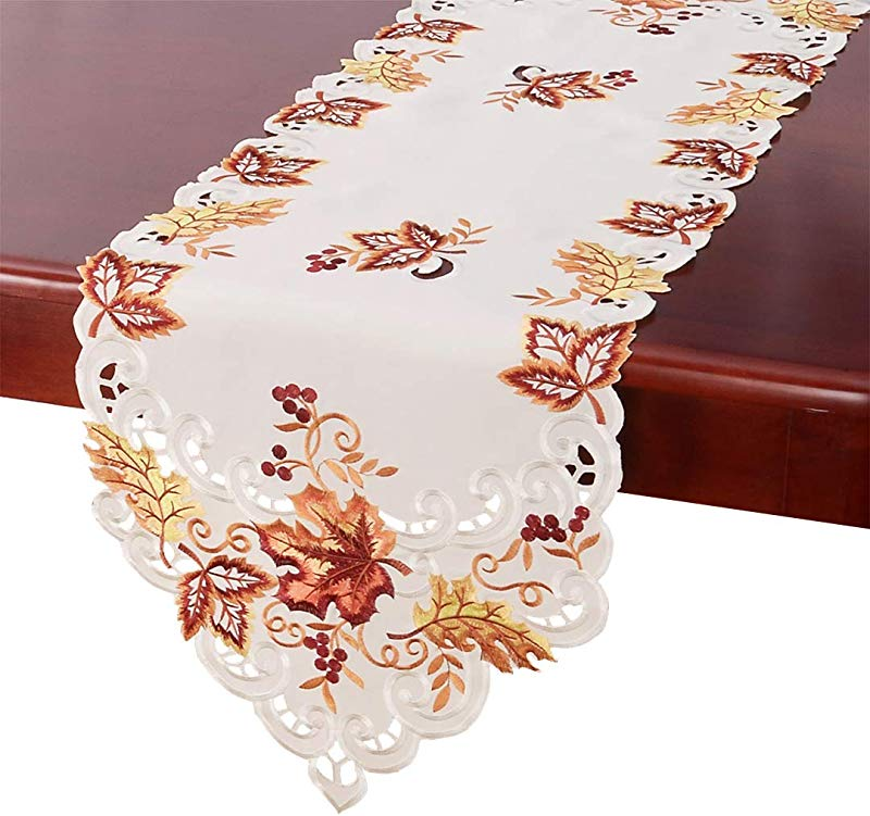Grelucgo Elegant Thanksgiving Holiday Table Runner Embroidered Maple Leaves Fall Table Linen 15 By 120 Inch