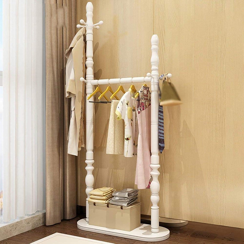 GJD Coatrack Solid Wood Hanger Floor Hanger Bedroom Hanger Bag Clothes Shelf Hatstand (color   1 , Size   183  65cm)