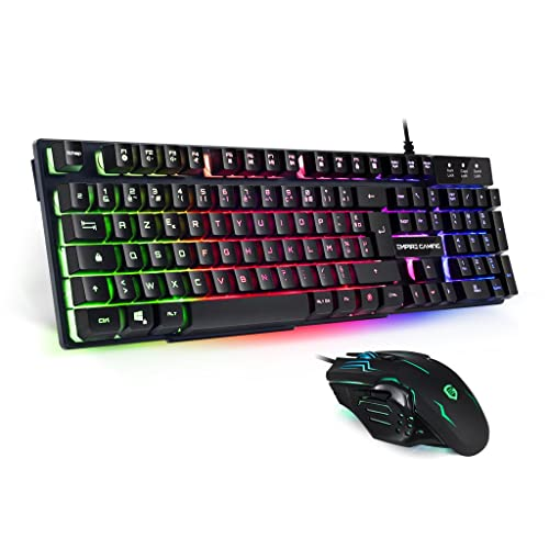 EMPIRE GAMING - Pack clavier et souris Gamer Empire K800 - Clavier RGB touches semi-mécaniques /Souris Gamer ambidextre 6 boutons 2400 DPI