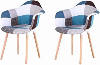EGOONM Pack 2 sillas de Comedor Patchwork Tela de Lino Butaca, sillas de recepción, Silla de Cocina (Rojo-A5)