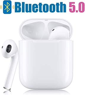 Bluetooth Earphones, Bluetooth 5.0 Wireless Earbuds, in-Ear Built-in Mic Headset Noise Canceling IPX5 Waterproof Sports Headset, Pop-ups Auto Pairing with Portable Charging Case - White