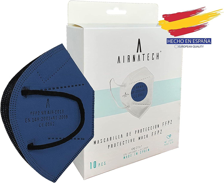 A AIRNATECH Mascarillas FFP2 Azul pack de 10 unidades. Marcado CE0161 Homologadas - Normativa EN149: 2001+A1: 2009 - 5 Capas de 95% Filtración - Mascarilla ffp2 protección respiratoria
