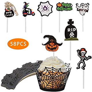 KungFu Mall Halloween Cupcake Ghost Pumpkin Lantern Skeletons Cupcake Toppers with Bake Cake Paper Cups for Wedding Halloween Party Birthday Decoration