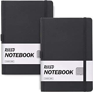 """2 Pack Ruled Notebook Journal, Lined Notebook and Journal Hardcover Thick Paper A5 with Inner Pocket, 96 Sheets/192 Pages per Notebook, 5.8""""×8.2"""" Inch (Black, Ruled)"""