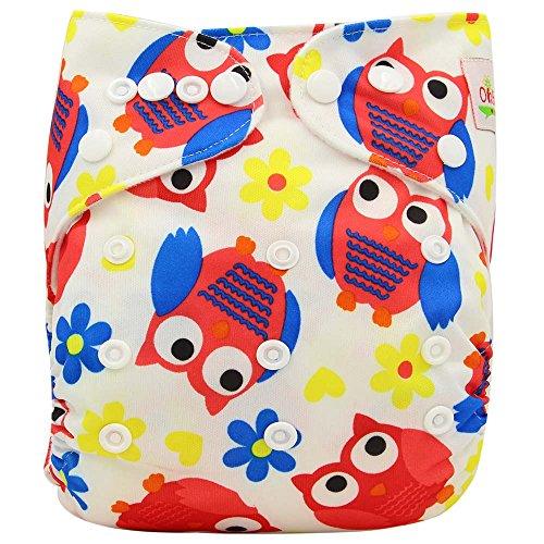 OHBABYKA Couche de poche réutilisable lavable avec 1 insert (chouettes rouges)