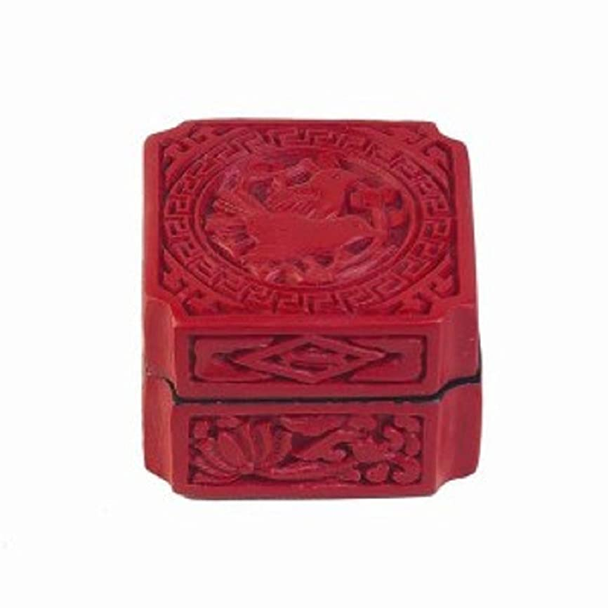 継続中水平掃くStealStreet 10704?Love Birds古代中国Cinnabar樹脂ギフトボックス、1.5インチ、レッド