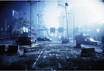 Amazon Com Dashan 14x10ft Destroyed City Backdrop Abandoned City Ruin Background For Halloween Disaster Theme Party Decor Collapsed Buildings Armageddon Natural Disaster Destruction Kid Adult Photo Props Camera Photo