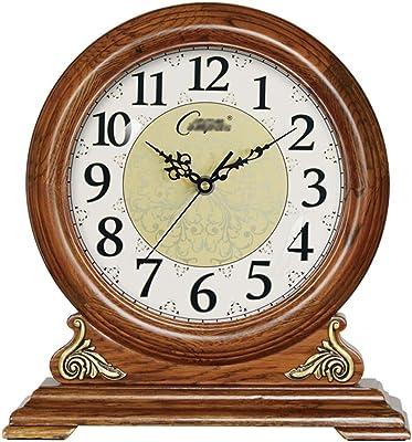 Sooiy Reloj de Mesa, repisa de Madera clásico Relojes Relojes ...