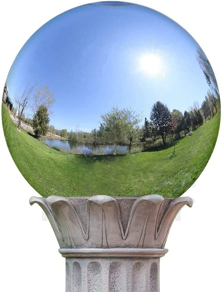 Fuhaieec Stainless Steel Gazing Ball,1 Pcs 12 Inch Silver Polished Gazing Globe Mirror Ball,Floating Pond Balls Seamless Gazing Globe for Home Garden Ornament Decorations