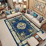 Alfombra de área de Dormitorio Europea Tradicional, patrón Floral de Estilo Vintage con Borde, alfombras de transición de Sala de Estar, Alfombra de Comedor para casa-Azul 2_120x160cm