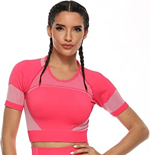 Womens Seamless Yoga Gym Crop Top Slim Fit Workout Running Shirts Long Sleeve with Thumbhole