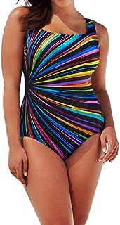 Lenfesh Traje de baño Mujer una Pieza,Rayas de Colores Bañador Tankini de una Sola Pieza Talla Grande L-3XL,bañadores con ...