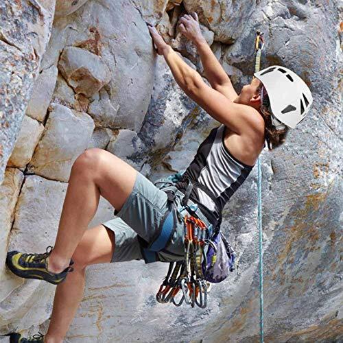 DAUERHAFT Casco de Escalada Ligero y Duradero Casco Seguro Interior Suave para montañismo, exploración, Escalada, protección para la Cabeza, etc.con Cuatro Tarjetas de Faros(White)