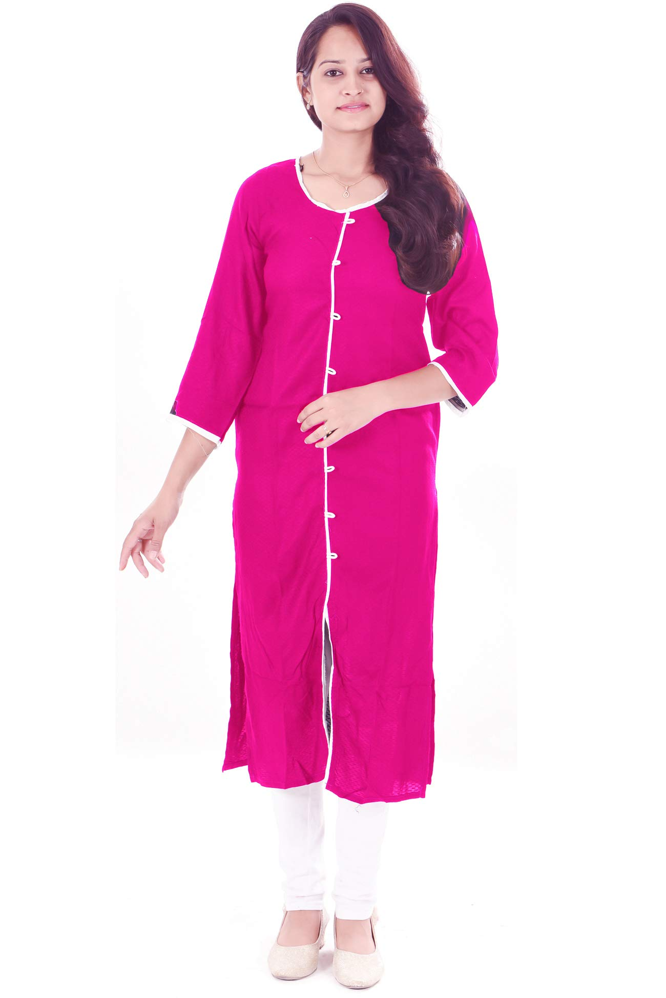 Available at Amazon: Lakkar haveli Women's Long Kurti Indian Casual Cotton Frock Suit Pink Color Plus Size Girls Maxi Gown Dress