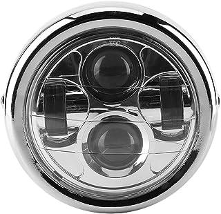Coque noire en verre blanc Phare Universel Moto R/étro 35 W 12V Noir Coquille Couverture de Gril Phare Avant Coque en M/étal et Lentille en Verre