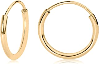 14kt Gold Hallow Endless Hoop Earrings 10 to 20mm
