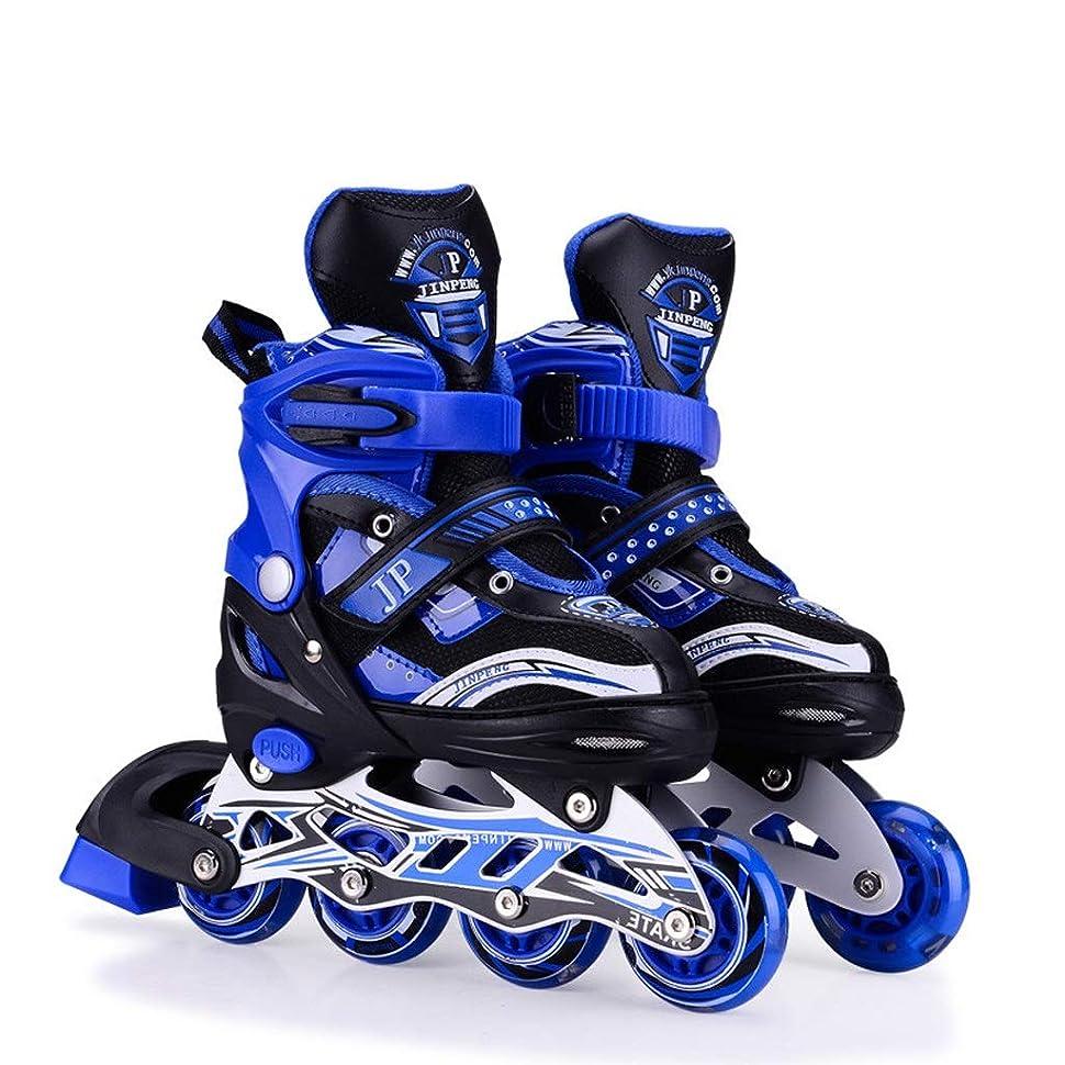 変化するリー仮定インラインスケート 男性用成人インラインスケート靴、プロ用単列スケート靴、調節可能な男性用および女性用スピードスケート靴、青と赤 (Color : Blue, Size : S (EU 31-34))