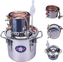 Seeutek 2 Gallon 8L Copper Tube Moonshine Still Spirits Kit Water Alcohol Distiller Home Brew Wine Making Kit Stainless Steel Oil Boiler