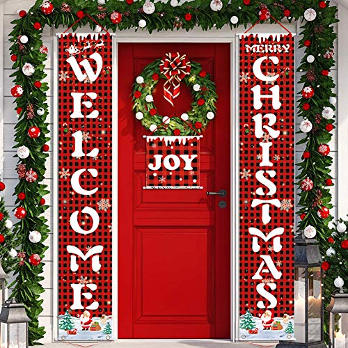 3 Pieces Xmas Decoration Banner Set Welcome Christmas Letters Santa Claus Elk Snowflake Plaid Porch Sign for Frozen Winter Snow Wonderland Party Garland Outdoor Indoor Wall Hanging Pendant Decor