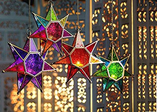 craftvatika Lanterne marocaine à suspendre en forme d'étoile en verre rouge | Porte-bougie mural avec chaîne | Décoration pour extérieur intérieur, terrasse, pelouse, jardin - 1 pièce