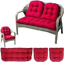 wongbey 3 Pcs Bench Seat Cushion Cotton Garden Furniture Loveseat Cushion Patio Lounger Chairs Back Cushions Seat Pillows ...