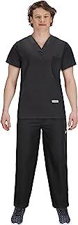 USBD Premium Medical Scrubs Sets for Men Hospital Uniform Dress V-Neck Shirt & Drawstring Pant Set