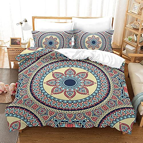 Bedclothes-Blanket Funda nórdica 3D 220x240,Conjunto de Ropa de Cama de Tres Piezas de impresión Digital Floral.-8_140 * 200