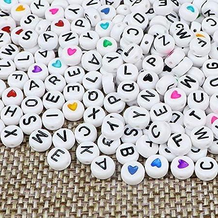 ZesNice 1500 Stück Buchstabenperlen und Herz Perlen und Gummiband für Armbänder, Rund Buchstaben Perlen zum Auffädeln, Bastelset für Armband Haarband Basteln