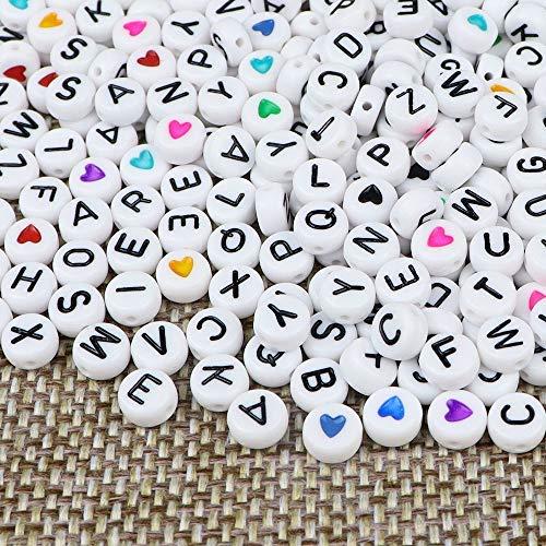 ZesNice 1500 Stück Buchstabenperlen und Herz Perlen und Gummiband für Armbänder, Rund Buchstaben Perlen zum Auffädeln, Bastelset für Kinder Armband Haarband Schmuck Basteln