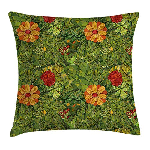 Floral Decorative Cushion Cover, Funky Flower Leaf Bush with Fractal Retro Jungle Art Design, Decorative Square Accent Cushion Cover, 18 x 18 Inches, Vermilion Marigold Olive Green
