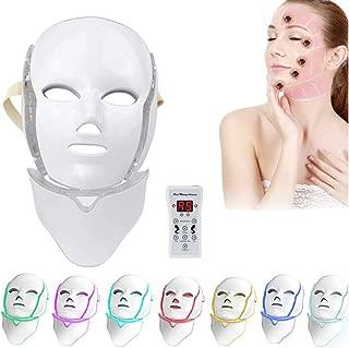 CNKSKXK- Light therapy Tratamiento de luz con máscara LED, Tratamiento Facial reafirmante con colágeno LED de 7 Colores Acné Anti-Arrugas Anti-acné, Cuello de máscara LED