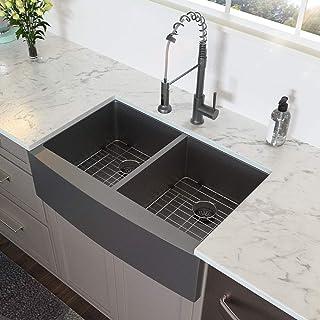 Farmhouse Kitchen Sink Double Bowl - Lordear 33 inch Kitchen Sink Apron Front Gunmetal Matte Black 16 Gauge Stainless Steel Double Bowl 50/50 Farm Kitchen Sink