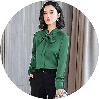 ies Shirt fe Silk on Womens Long-sled Chiffon Blouse