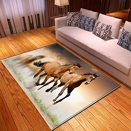 XuJinzisa Animal Caballo Paisaje 3D Impresión Alfombra Sala De Estar Dormitorio Hogar Antideslizante Decoración Suave Decoración del Hogar Alfombra 140X200Cm H17362