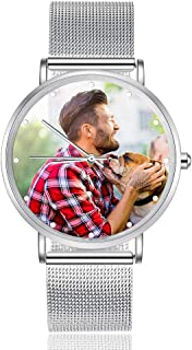 Kaululu Custom Photo Watches for Women Men Couple Waterproof Watch for Girls Boys Personalized Gifts for Mom Mother's Day Father's Day Christmas Birthday Gift