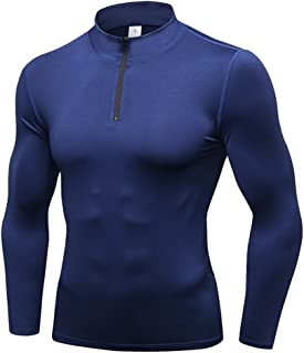 Sanke Men Compression Shirts Long Sleeve Undershirts 1/4 Zip Pullover Mock Neck Tops