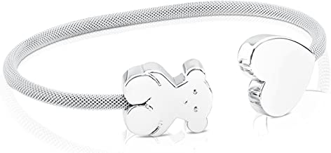 TOUS Sterling Silver Bear and Flower Mesh Cuff Bracelet