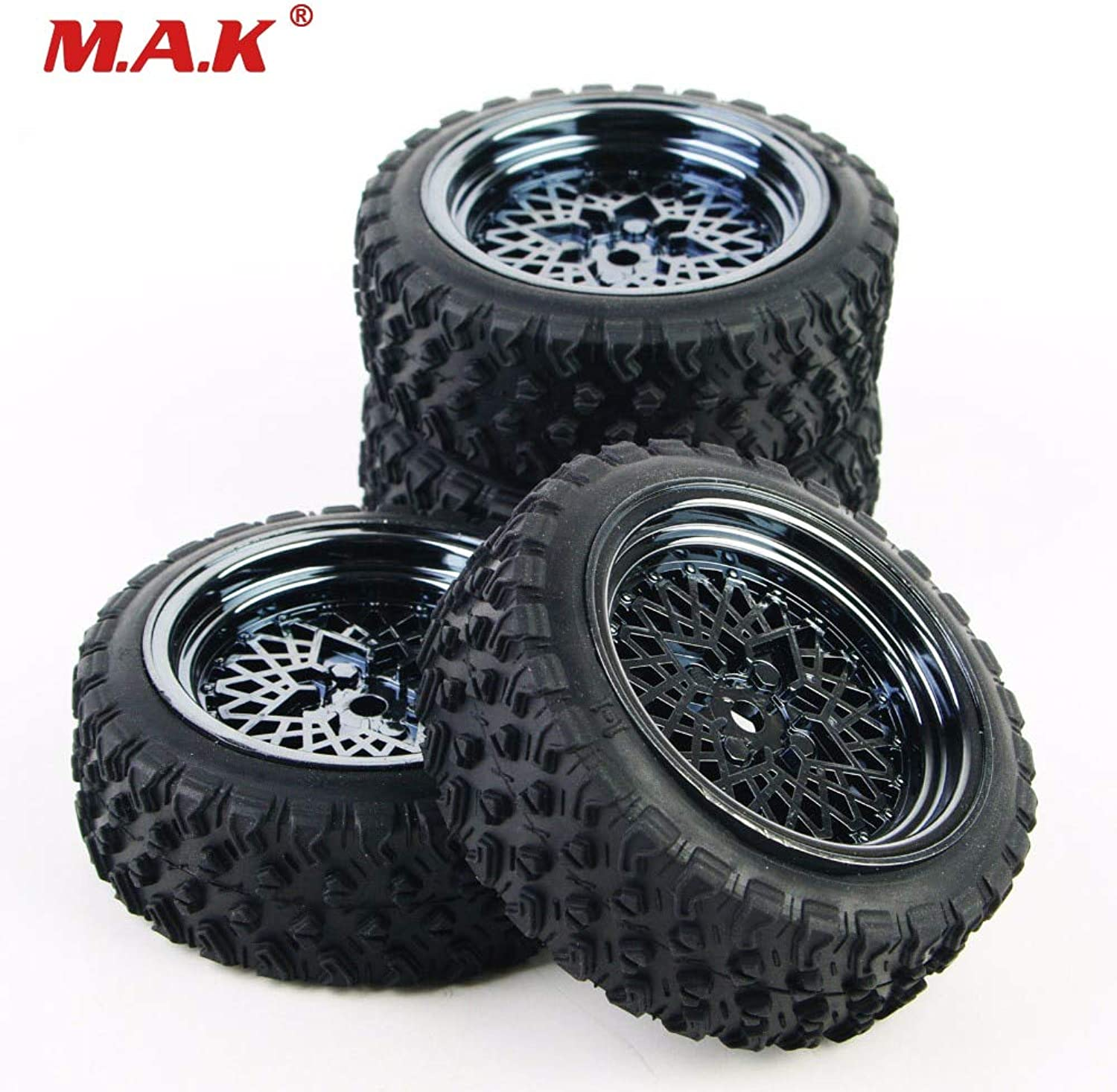 Generic 62mm 4Pcs 1 10 Scale Rubber Tire Rim Wheel Set 12mm Hex for HSP HPI RC 1 10 Rally Racing Off Road Car Model Accessory