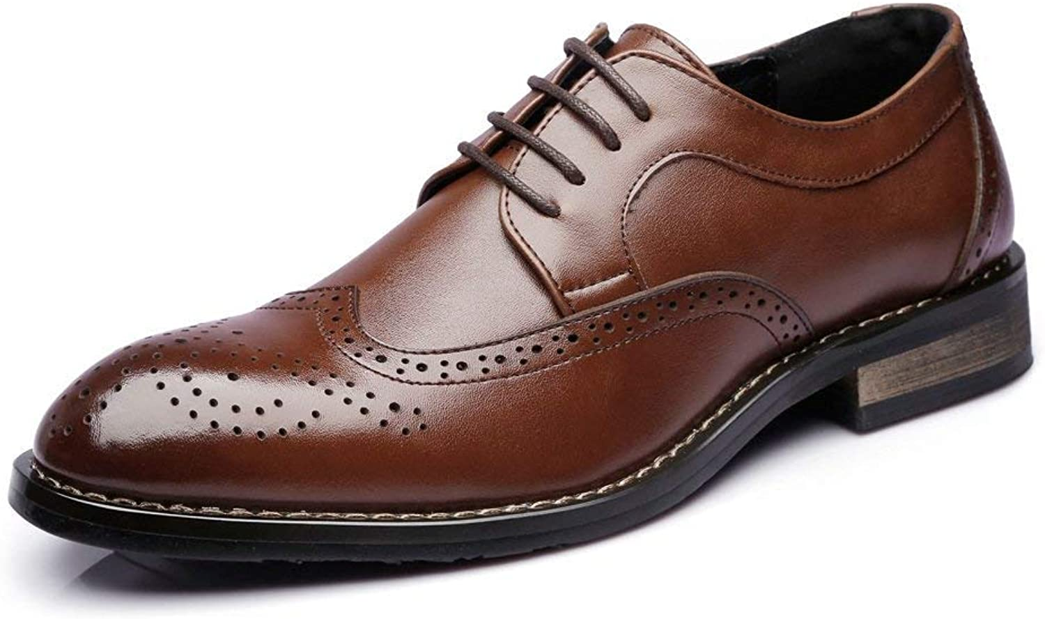 Oudan 2018 Men Low Top Business shoes Matte Hollow Carving Genuine Leather Lace up Breathed Padded Oxfords (color  Brown, Size  46 EU) (color   Brown, Size   41 EU)