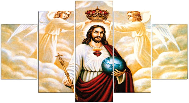 promociones de equipo XMQW XMQW XMQW Lienzo Arte de la Parojo Inicio Modular 5 Panel Jesús Sala de Estar HD Imagen Impresa Posters Pintura,A,20x35x2+20x45x2+20x55x1  tienda en linea